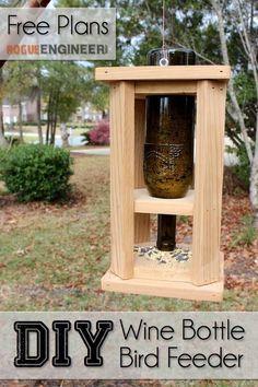 DIY Wine Bottle Bird Feed - Free Plans - Rogue Engineer #diyprojects #diyideas #diyinspiration #diycrafts #diytutorial #winebottle #winebottlecrafts #birdfeeders #birdfeeding #birdfeederplans