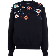 Victoria By Victoria Beckham Black Flower Embroidered Knit Sweater ($475) ❤ liked on Polyvore featuring tops, sweaters, shirts, jumper, chunky oversized sweater, floral long sleeve shirt, long sleeve sweater, floral shirt and oversized shirt