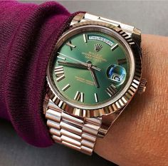 Rolex Day Date rose gold with beautiful green dial