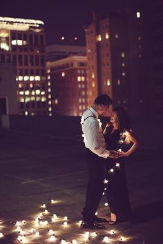 Engagement session with lights.