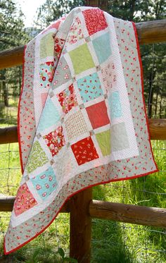 Quilt  Ruby Handmade Baby Lap Throw  CUSTOM by PiecesOfPine, $155.00