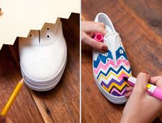 DIY: Chevron tennis shoes (Turn plain white sneakers into a work of wearable art) I think this would make a very cool and affordable art room project also!