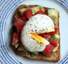 Avocado-Tomato Toast with a Poached Egg,serves one lonely person for breakfast.