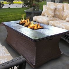 Patio Ideas, Propane Fire Pit Coffee Table With Cream Cushion Patio Chairs And Rectangular Fire Pit Table Shaped: Appealing Propane Fire Pit Coffee Table For Having an Exceptional Comfort Coffee's Time Fire Pit Coffee Table, Gas Fire Pit Table, Diy Fire Pit, Fire Pit Backyard, Coffee Tables, Fire Pits, Pool Backyard, Backyard Paradise, Indoor Fire Pit