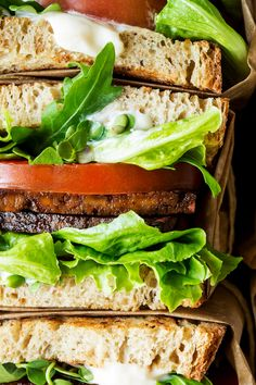 Vegan BLT sandwich has it all: saltiness, smokiness, crunch of lettuce, sweetness of ripe tomatoes and creaminess of mayo hugged between toasted sourdough.