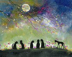 Original Painting CAT SPRING MOON HALLOWEEN GOTHIC FOLK ART PRIMATIVE ART T FOSS