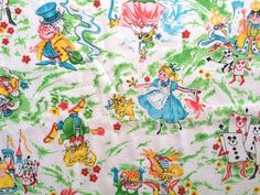 Vintage 60s Alice in Wonderland Juvenile Fabric White Rabbit Queen of Hearts Cheshire Cat Mid Century Cotton Bark Weave BTY Cute Bright Fun by CuteBrightFun on Etsy