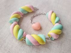 Marshmallow bracelet made out of polymer clay and joined together with alloy pins. It has pr elongated ending so it can be adjusted to your wrist size and als Candy Bracelet, Candy Jewelry, Cute Jewelry, Diy Jewelry, Kawaii Jewelry, Wooden Jewelry, Jewelry Box, Handmade Jewelry, Cute Polymer Clay