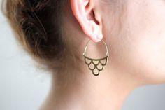 Midcentury Scalloped Waves Earrings Brass by ShopRareBird