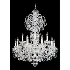 Olde World Silver 15-Light Crystal Swarovski Elements Chandelier, 32W x 40H x 32D