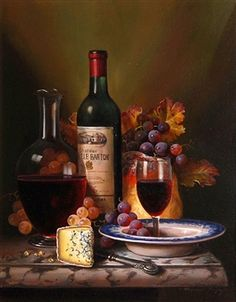 Still life of wine, fruit and cheese By Raymond Campbell