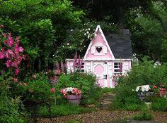 Little Pink Garden Cottage. Fairytale Cottage, Storybook Cottage, Storybook Gardens, Pink Garden, Dream Garden, Beautiful Home Gardens, Beautiful Homes, Home Garden Design, Home And Garden