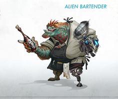 ArtStation - Alien Bartender and his Bar, David Sladek