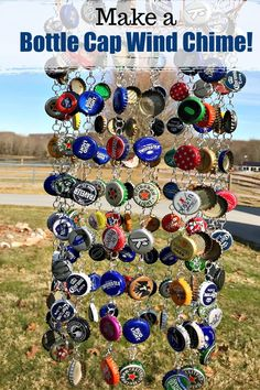 How to make a wind chime out of recycled bottle caps. This is a great way to create a colorful vintage look wind chime that can be used indoor or out. A fun trash to treasure project! #Kenarry #IdeasForTheHome Bottle Cap Projects, Bottle Cap Crafts, Diy Bottle, Craft Projects For Adults, Diy Craft Projects, Craft Ideas, Outdoor Projects, Diy Ideas, Decor Ideas