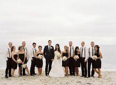 black and white beach wedding