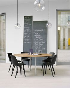 meeting room with leaning chalkboards