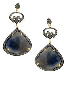 Jennifer Miller Jewelry Yellow and Oxidized Gold over Silver Plating Sapphire and Pave Diamond Drop Pierced Earrings #Fashion #Style #Trends #Earrings #NYC #PalmBeach #Hamptons