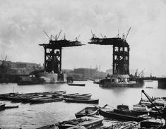Tower Bridge, London, UK (1886-1894, designed by Sir Horace Jones and George D. Stevenson) --Photos of Famous Landmarks While They Were Still Under Construction