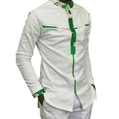 Fashion Mens Africa Festive Clothing Ankara Clothes African Print Tops Long Sleeve print and white Cotton patchwork T-shirt African Shirt Styles, African Shirts For Men, African Attire For Men, African Clothing For Men, African Wear, African Suits, Nigerian Clothing, African Clothes, African Masks