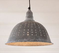 PRIMITIVE RUSTIC COUNTRY COUNTRY COLANDER PENDANT LIGHT in Weathered Zinc Finish This stunning primitive country light will most certainly be a perfect finishing touch to your kitchen or breakfast noo