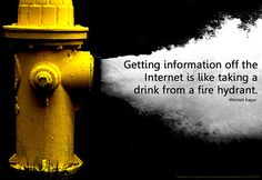 "information hydrant by Will Lion, via Flickr  ""Getting information off the Internet is like taking a drink from a fire hydrant"" (Mitchell Kapor)  information overload, information retrieval, internet"