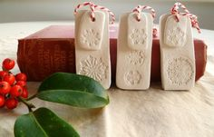 Christmas tags made with air drying clay