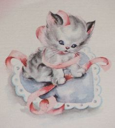 Sweet Kitty Vintage Valentine Cards, Valentines Art, Cat Valentine, Valentines Day Hearts, Vintage Greeting Cards, Retro Images, Vintage Images, Halloween Vintage, Vintage Book Covers