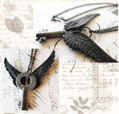 Steampunk necklace for men large black wings by AdornMeJewelry