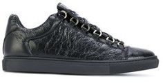 Balenciaga Men's Black Leather Sneakers.