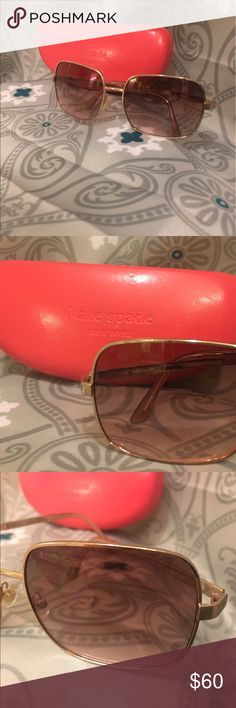 ♠️Kate Spade Sunglasses w/Case ♠️ Still my favorite shades ! Just wanting to change to a different style. Gold rim. Rose gold lenses. VERY MINOR nic's in the gold rim. See last picture. Seriously hard to notice. Did not see flaws in the lenses. I carefully examined them,  in great condition in my opinion. Comes with case! kate spade Accessories Glasses