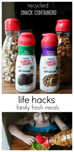 Busy Mom Life Hacks -- recycled snack containers -- This pin is brought to you by Coffee-mate #CMSmartCookie #BH