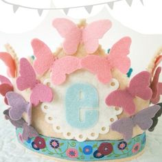 Ombre Butterfly Birthday Crown - Pinks Purples Blues - Felt Birthday Crown for Girls on Etsy, $36.00