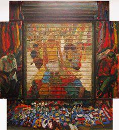 Jose Gomez • DEPENDIENDO DEL LUGAR • Poliptico, Oleo/Lienzo, 165 x 160 cm, 2007