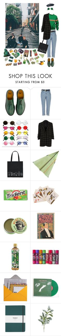 """""""{ Check in }"""" by antlia-caelum-pyxis ❤ liked on Polyvore featuring Dr. Martens, River Island, Forever 21, Cadbury, Burt's Bees, Design 55, Shinola and Pier 1 Imports"""