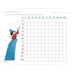 With a little help from Mickey, your student will be able to fill in this multiplication table in no time.