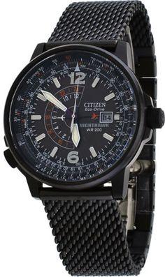 Citizen-BJ7009-58E-Mens-Eco-Drive-Black-Stainless-Steel-NightHawk-Pilot-Watch