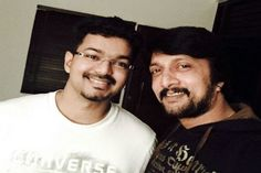 Sudeep, Vijay working together for 'Vijay 58' shooting http://www.bangalorewishesh.com/entertainment-movies-films/376-movie-gossips/36947-sudeep-vijay-working-together-for-vijay-58-shooting.html  Sandalwood super star Kichcha Sudeep has made his debut in Tamil cinema with his upcoming movie 'Vijay 58', where he had joined along with Vijay, who will be playing male lead role in the movie