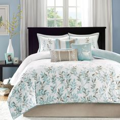 Amazon.com - Madison Park Meadow 7 Piece Cotton Sateen Comforter Set - Blue - King - King Size Comforter Set