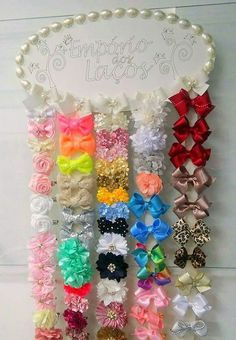Creative Crafts, Diy And Crafts, Barrette Holder, Bow Hanger, Craft Desk, Kanzashi, Jewelry Hanger, Cute Headbands, Lace Bows