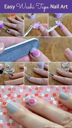 Step-by-step directions for a fun and pretty Washi Tape Nail Art Manicure!   Hello Little Home #nails #nailpolish
