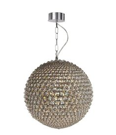 This Milano pendant light features a very stylish globe shape in a chrome structure, adorned with tiers of sparkling clear crystals. This sophisticated piece will suit both modern and traditional settings. Home Lighting, Dining Room Lighting, Dining Room Table, Modern Lighting, Crystal Pendant, Clear Crystal, Ceiling Lights, Ceiling Pendant, Pendant Lighting