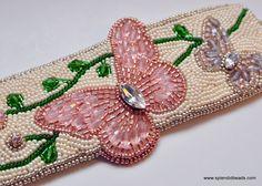 Bead Embroidery Bracelet  Rosaline Butterfly by SplendidBeadsBklyn, $225.00
