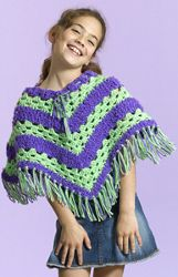 Crochet Striped Poncho - different sizes  - easy - FREE CROCHET pattern