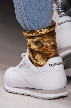 nothin' like mom jeans tucked into some sequined socks with old lady Reeboks.