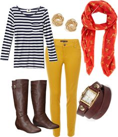 """""""Navy Stripes and Mustard Skinny Jeans"""" by sbigg11 on Polyvore"""