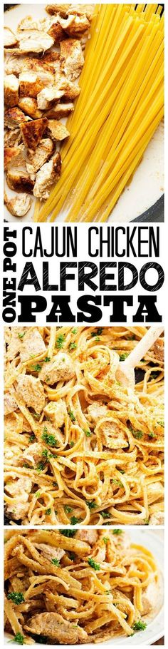 One pot Cajun chicken Alfredo recipe. An amazing one pot meal that is on the dinner table in less than 30 minutes! The cajun spice adds the perfect amount of flavor to the creamy alfredo sauce!