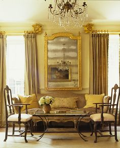 Gold leaf curtain rod end caps. Room by Amelia Handegan ~ Photo by Pieter Estersohn.