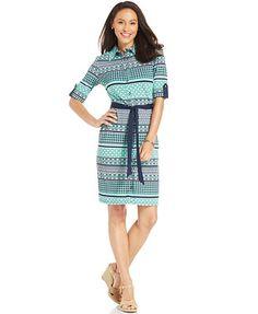 Charter Club Mixed-Print Belted Shirt Dress