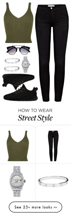 """""""comfy street style"""" by teensallover on Polyvore featuring Frame Denim, Rolex, Cartier, StreetStyle, outfit, black, GREEN and comfy"""