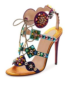 Kaleikita Spiked Lace-Up Sandal | Christian Louboutin